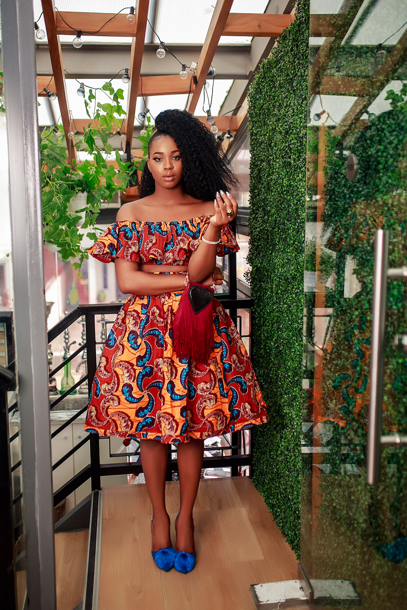 African Print Binah Crop Top and Skirt