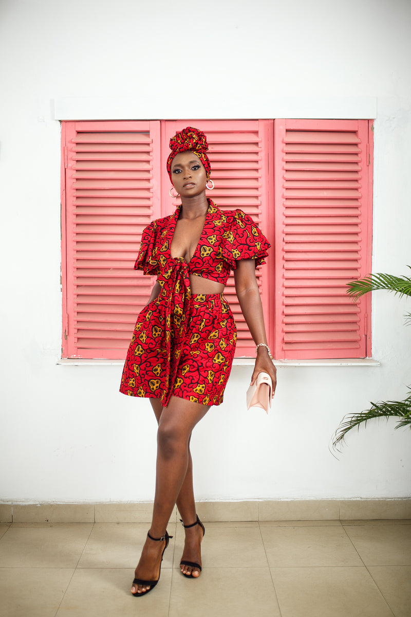 Yeesha Ruffled Crop Top and Medium Length Shorts Set.