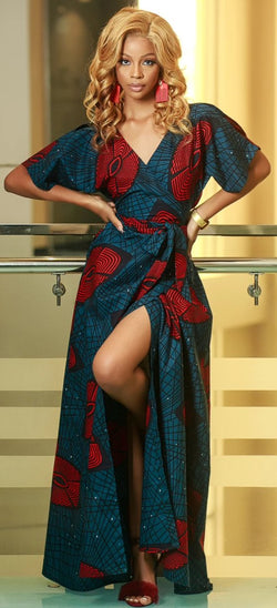 African Ankara  Farai Wrap Dress