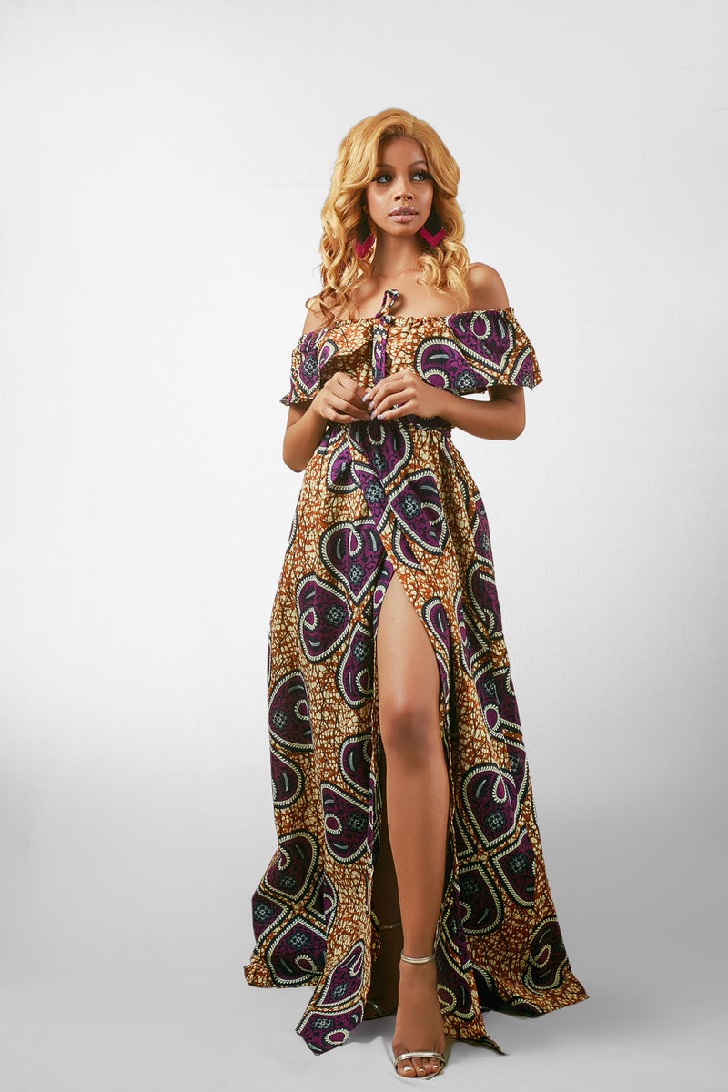 African Ankara Uju Wrap Dress