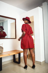 Indo Dashiki Dress ( Red )