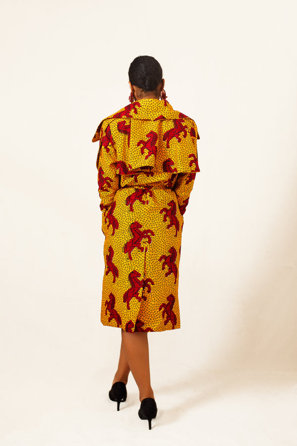African Print Kira Short Trench Coat