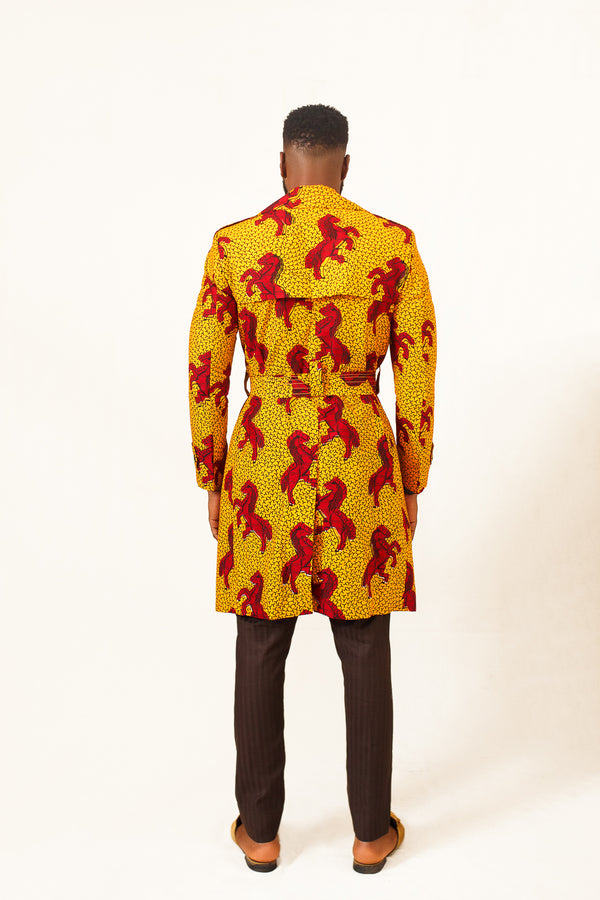 African print Kira Man Trench Coat