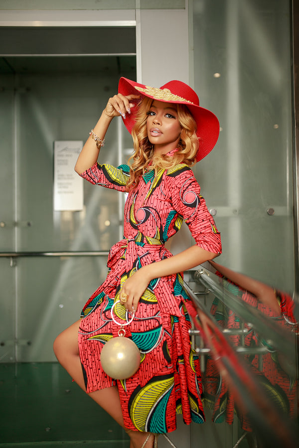 African Ankara Beeha Wrap Dress