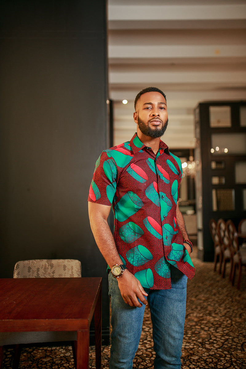 THE AFRICAN ANKARA EKON SHORT SLEEVE SHIRT