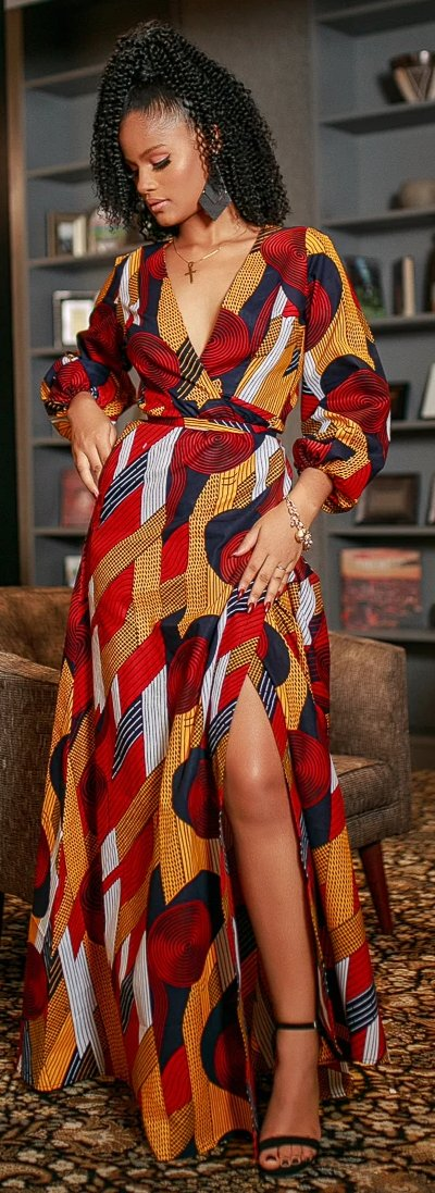 African Ankara Alora Wrap Dress