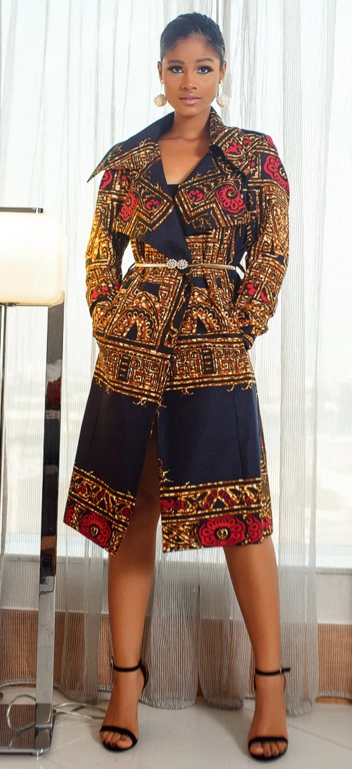 Dakarai  African Print Trench Dress