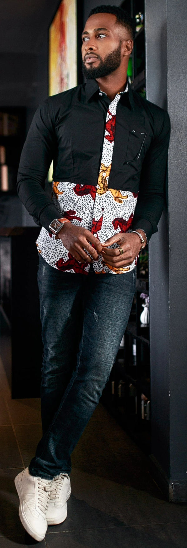 AFRICAN PRINT KALIFA LONG SLEEVE SHIRT