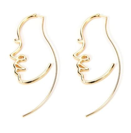 Creative Abstract Face Contour Shape Earrings Girl  Jewelry