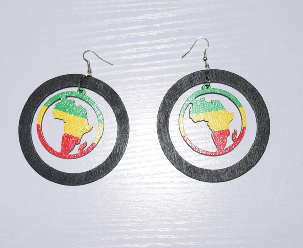 Painted Africa Map Wooden Drop Earrings