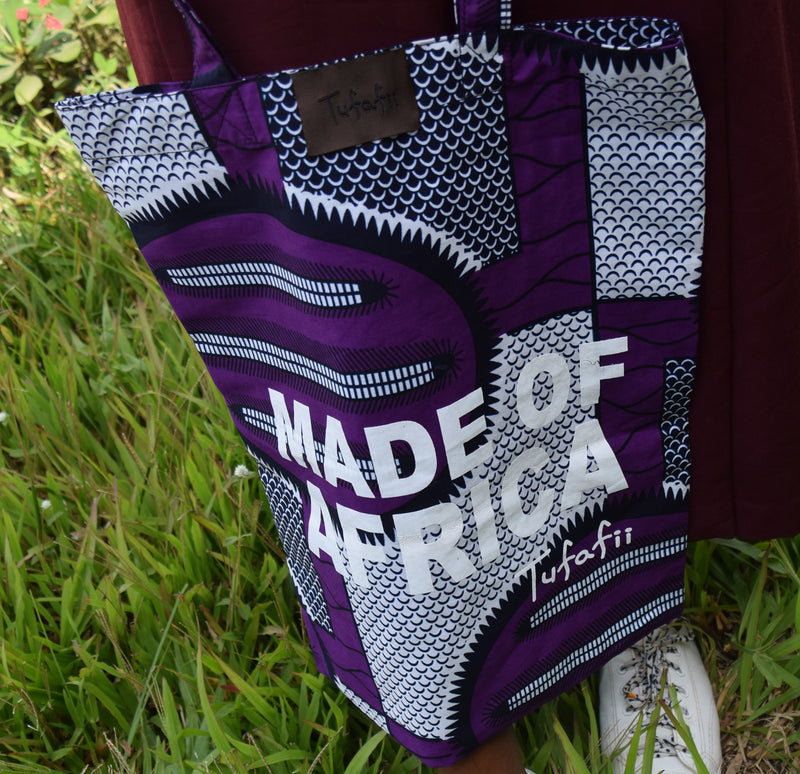Tufafii Tote Bag (purple & white )