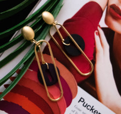 Pin And Button Gold  Earrings