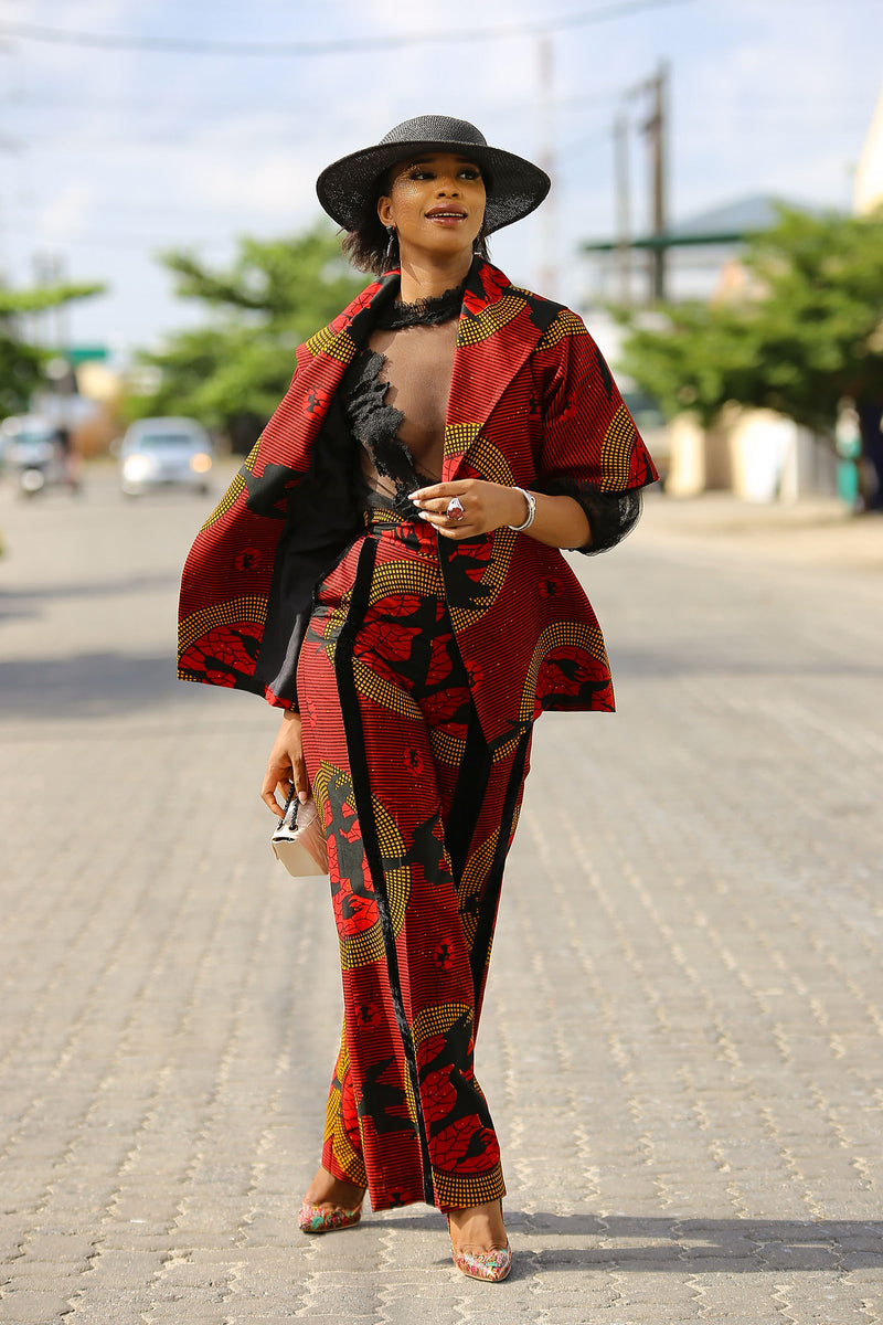 African Print Red Duu Kimono and Pant Set