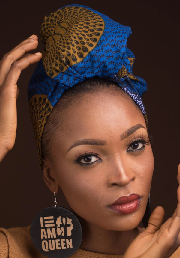 African Print Kellan Blue Head Wrap