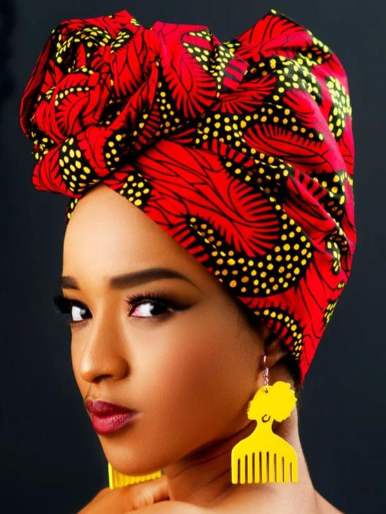 African Print  Red Kellan Head Wrap