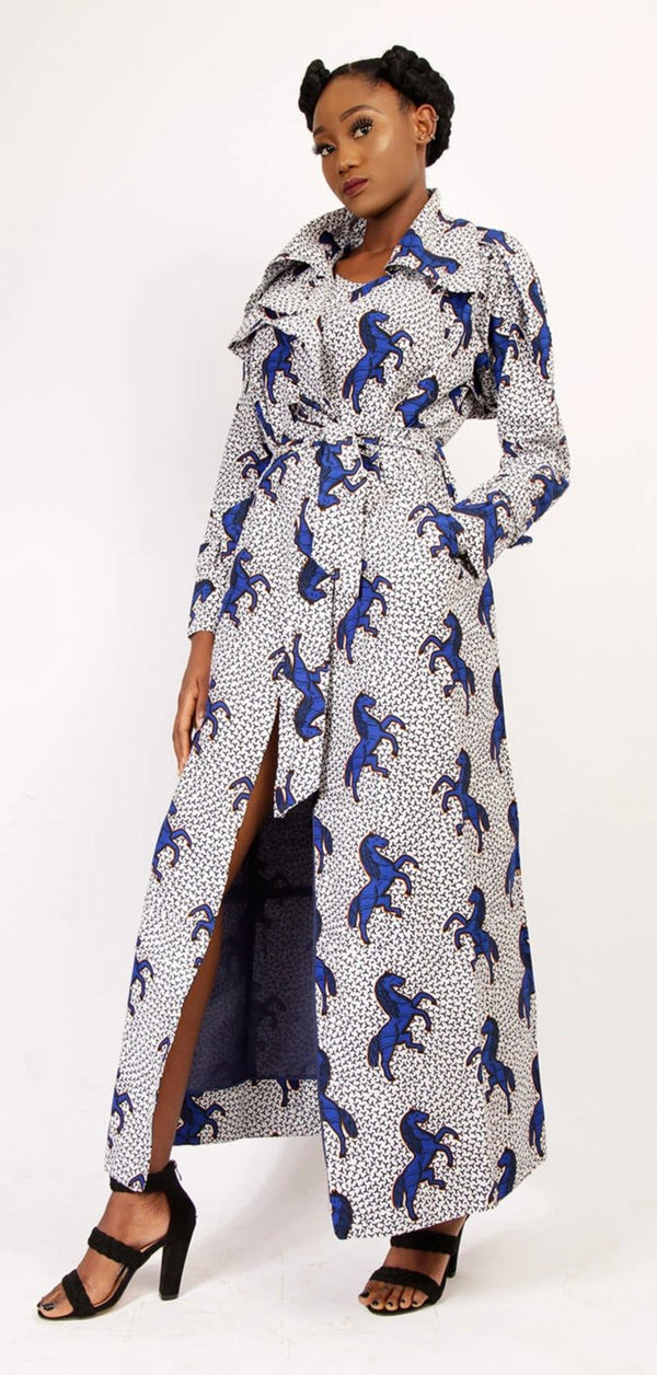 African Print Kira Trench Dress (Blue color)