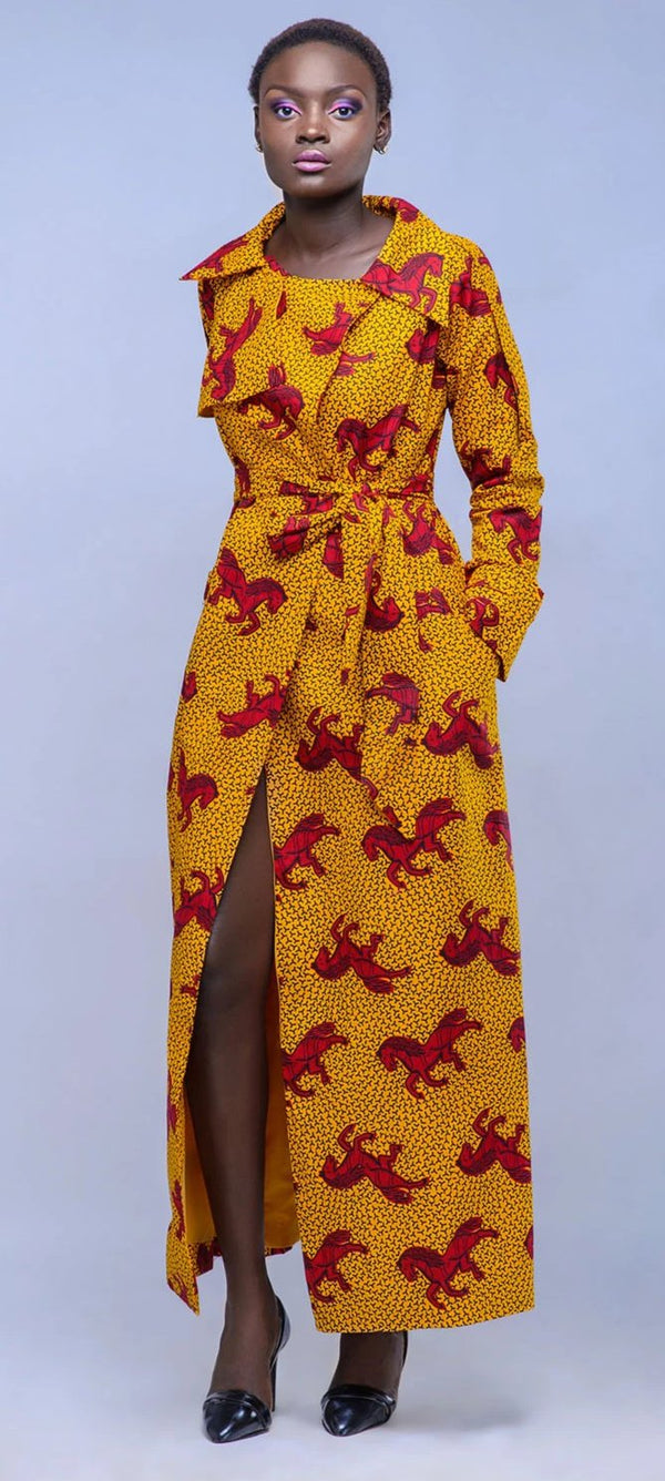 African Print Kira Trench Dress Red