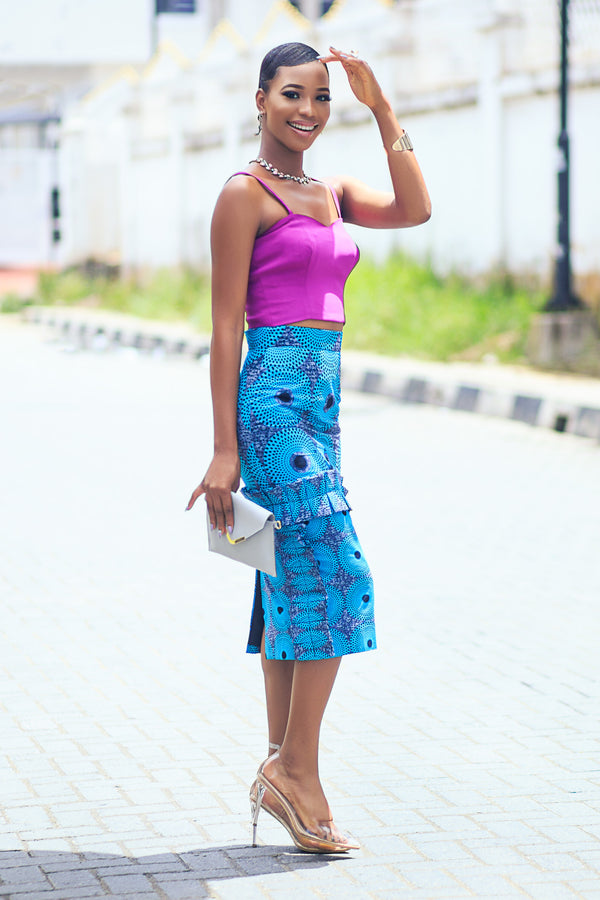 African Print Rul Skirt Teal Green