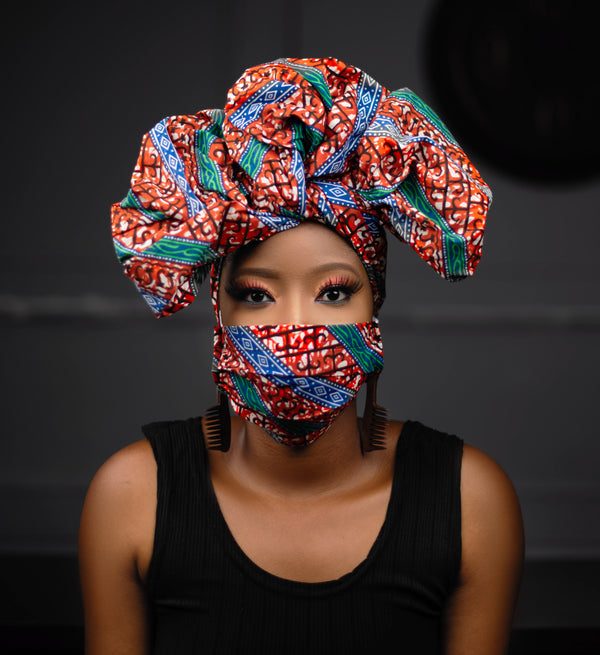 ADULT FACE MASK WITH MATCHING HEAD WRAP
