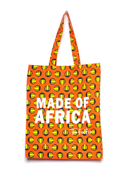 Tufafii Tote Bag (Orange with Yellow Patterns)
