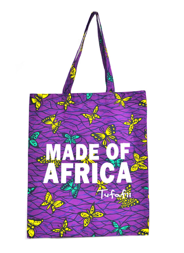 Tufafii Tote Bag (Purple with Yellow Butterflies)