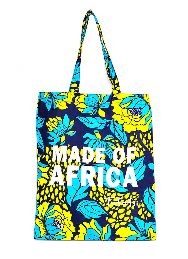 Tufafii Tote Bag (Blue & Yellow Leaves)