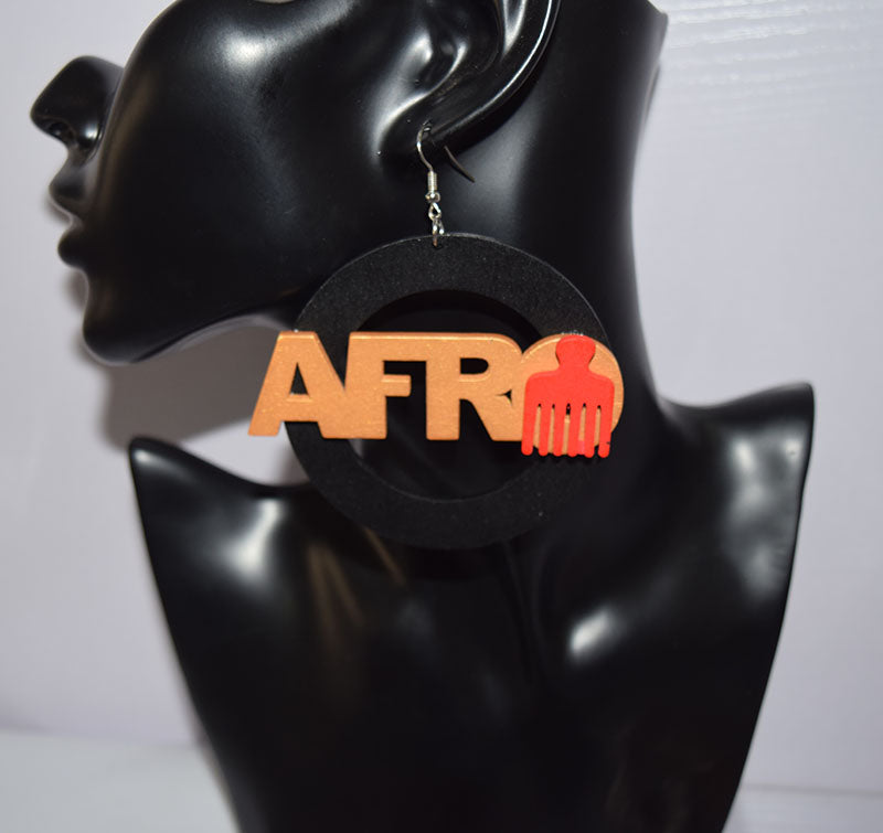 Afro Word Comb Wooden Earring