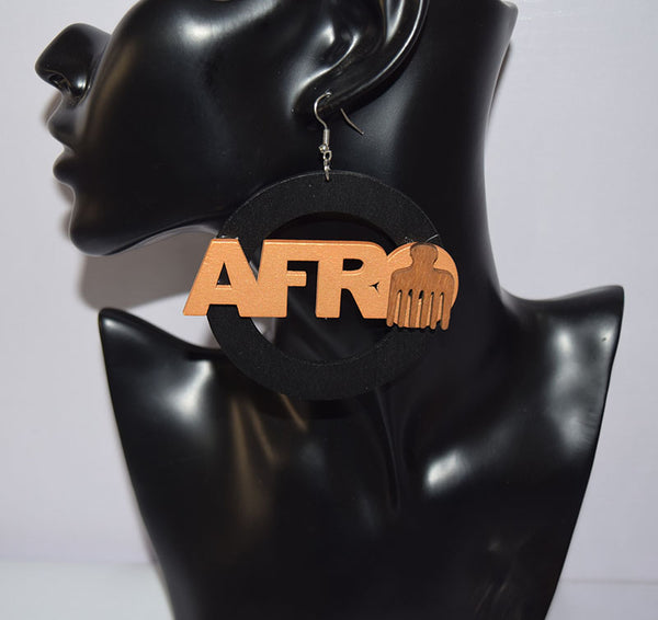 Afro Word Comb Earrings