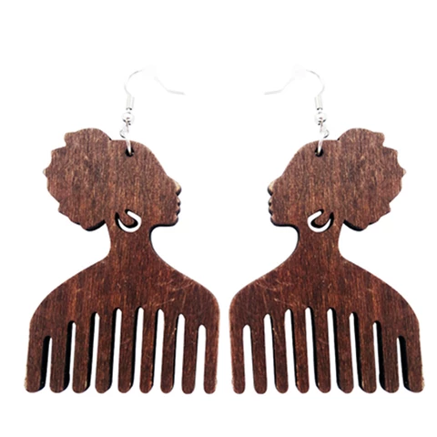 Afro Comb Wooden Earring