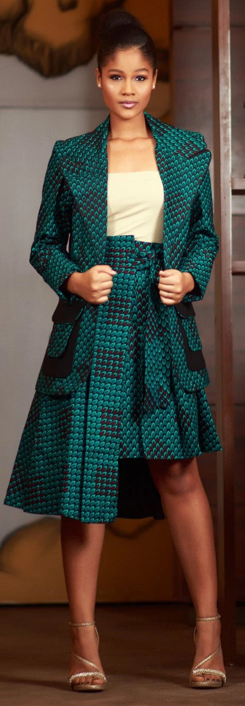 African Ankara Fashion Print Karai Green Jacket