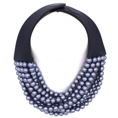 Hematite Blue Glass Pearl - Fairchild Baldwin - Handmade in Italy