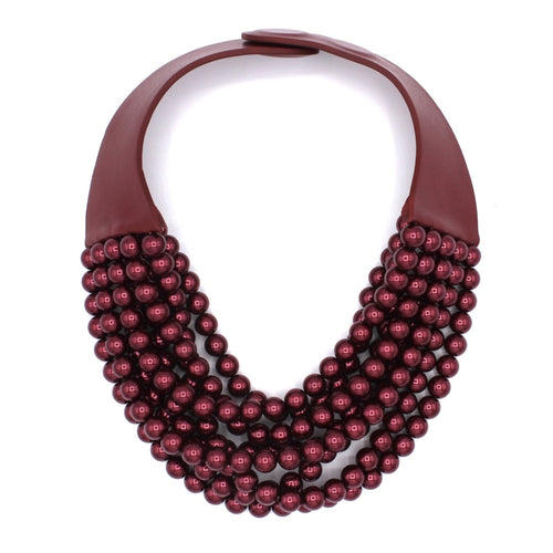 Metallic Cranberry Glass Pearl - Fairchild Baldwin - Handmade in Italy