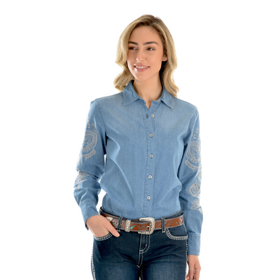Wrangler Women's Vera Denim Long Sleeve Shirt