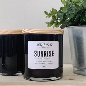 Natural hand poured wood wick soy-coconut wax scented candle.