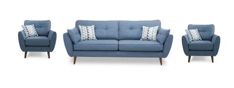 Addilyn blue fabric sofa set - Sofa Set Online Bangalore