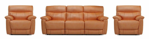 Bexley orange color art leather recliner - Sofa Set Online Bangalore