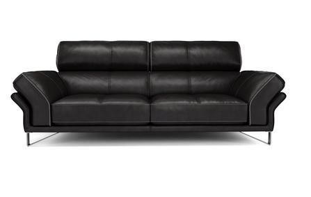 Drama in black contrast genuine leather sofa Genuine Leather Sofa Sofa Set Online Bangalore 3 Seater