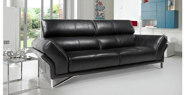 Drama in black contrast genuine leather sofa Genuine Leather Sofa Sofa Set Online Bangalore