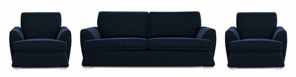 Dyani dark blue elegant fabric sofa set Fabric Sofas Sofa Set Online Bangalore 3+1+1