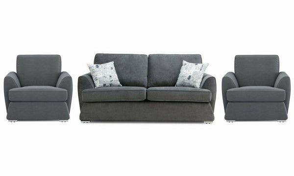 Dyani fabric sofa sets Fabric Sofas Sofa Set Online Bangalore Graphite 3+1+1