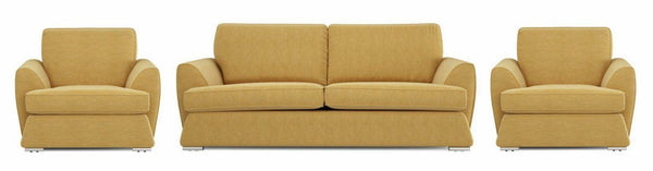 Dyani lemon shade fabric sofa set Fabric Sofas Sofa Set Online Bangalore 3+1+1