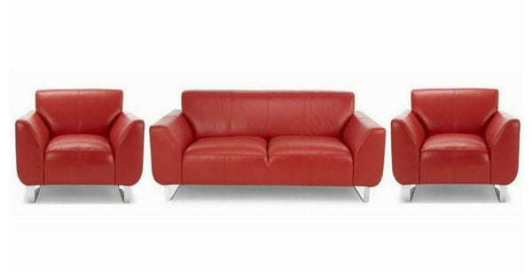 Hardy in red art leather sofa Leather Sofa Sofa Set Online Bangalore 3+1+1