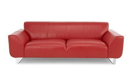 Hardy in red genuine leather sofa Genuine Leather Sofa Sofa Set Online Bangalore 3 Seater