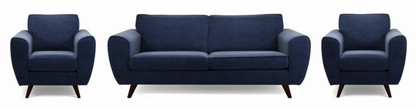 Koby fabric sofa set Fabric Sofas Sofa Set Online Bangalore Dark Blue 3+1+1