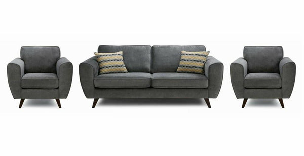 Koby fabric sofa set Fabric Sofas Sofa Set Online Bangalore Graphite 3+1+1