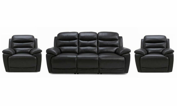 Landos manual recliner Leather Recliner Sofa Set Online Bangalore Black 3+1+1