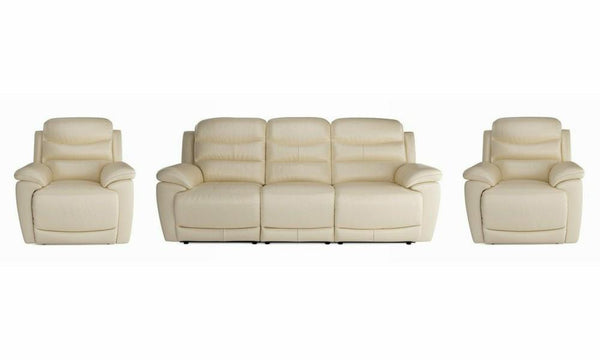 Landos manual recliner Leather Recliner Sofa Set Online Bangalore Cream 3+1+1