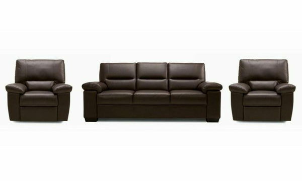 Mellow genuine leather sofa set Genuine Leather Sofa Sofa Set Online Bangalore DBrown 3+1+1
