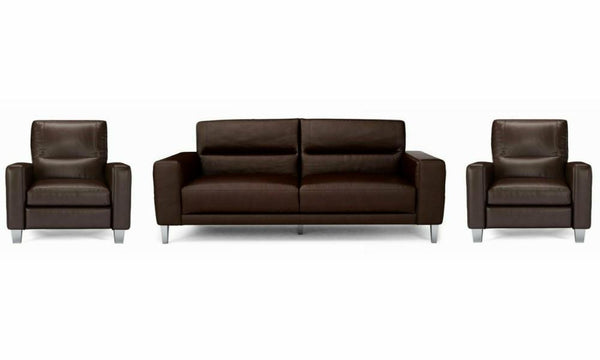 Novu genuine leather sofa set Genuine Leather Sofa Sofa Set Online Bangalore DBrown 3+1+1