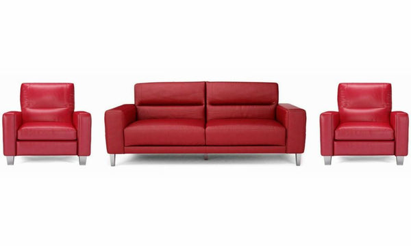 Novu genuine leather sofa set Genuine Leather Sofa Sofa Set Online Bangalore Red 3+1+1